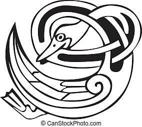 Celtic viking duck isolated on white. Great for artwork or...