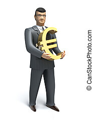 Businessman holds an euro symbol