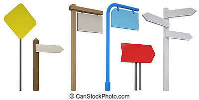 3D Blank signpost collection