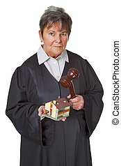 Female lawyer wearing a black robe isolated on white...