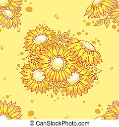 Seamless pattern yellow flowers bouquet.