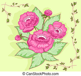 The pink flowers bouquet card Vector illustration