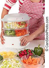蔬菜, 婦女, 廚房