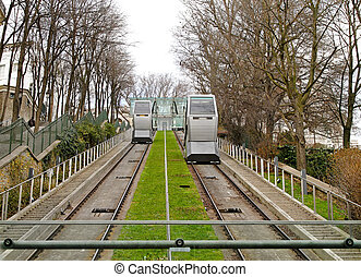 Funicular cable car at Montmartre in Paris