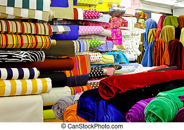 Textile rolls warehouse - Assortment of colourful textile...