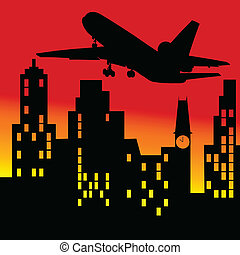 plane above the building vector illustration