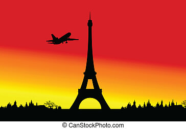 plane passing by the Eiffel Tower vector illustration