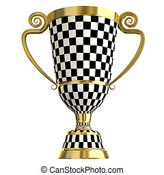 Crossed checkered trophy golden cup, symbols of winning