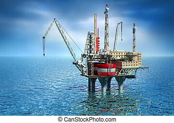 Drilling offshore Platform in sea 3D image