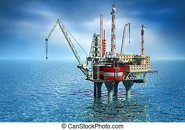 perforación, costa afuera, plataforma, mar