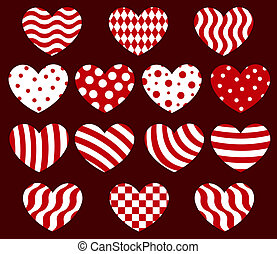Set of geometrical hearts - Set of fourteen geometrical...