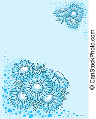 The blue flowers card - The blue white flowers card Vector...