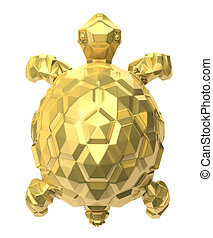 Gold turtle on white. 3D image