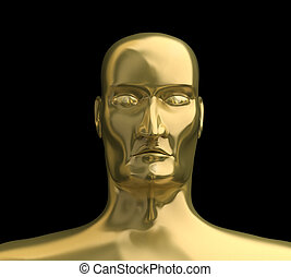 Gold face with isolated on black background. 3D image