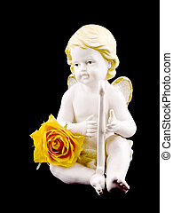 Ceramic cupid and tea rose on black - Ceramic cupid figure...