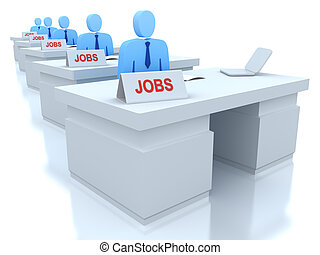 Job Centre : employers seeking for employees 3D concept