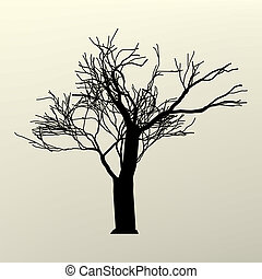 Illustration with branch tree silhouette. EPS 8