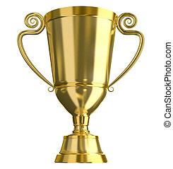 Doré, trophée, tasse, isolé
