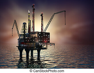 Drilling offshore Platform in night sea. 3D image