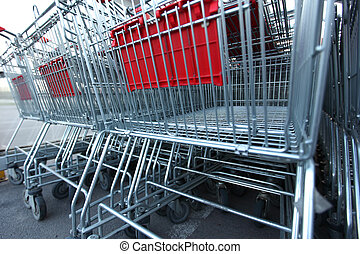 shoping carts in a row close up