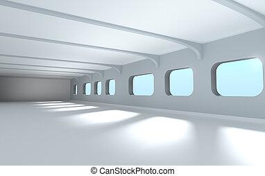 Modern architecture interior 3d render