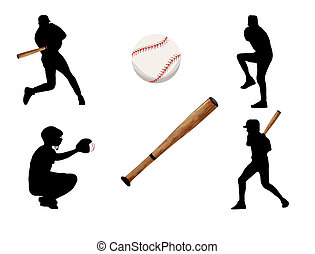 Baseball players silhouette, vector illustration