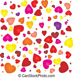 Valentine card with colored hearts on seamless pattern, vector illustration