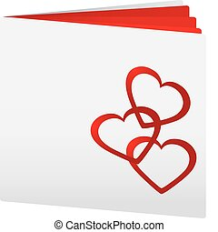 Book with three hearts on top as love book, vector illustration