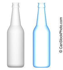 cerveza, botellas, transparente, opaco