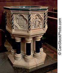 Baptismal font in St.Albans church. - Fresco decorated font...