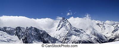 Panorama Caucasus Mountains. Dombay.