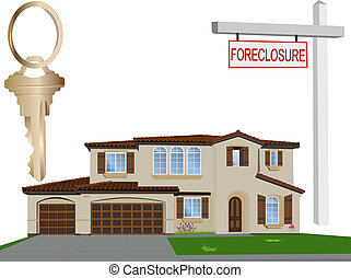 Vector Home, Key and Sign - Vector home, foreclosure sign...