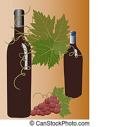 Vector Wine and Grapes