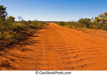 australian outback - dirt road in the australian outback