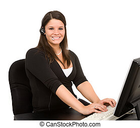 Customer Support - Young female employee doing customer...