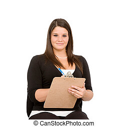 Year End Inventory - Pretty young woman with clipboard on...