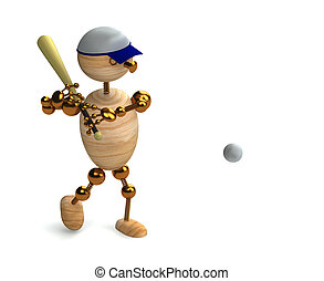 wood man baseball player 3d rendered for commersial