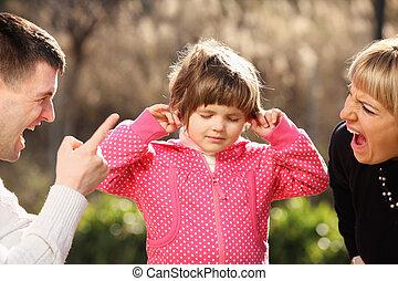 padres, gritos, inocente, niño, parque
