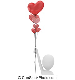 3d man with balloons heart valentine's day