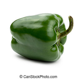 Green paprika (pepper) big size isolated on a white background