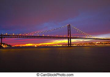 The 25 De Abril Bridge in Lisbon - The 25 de Abril Bridge -...