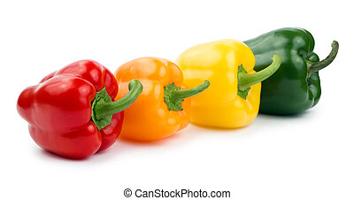 Paprika (pepper) red, orange, yellow and green color isolated on a white background
