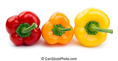 Paprika (pepper) red, orange and yellow color isolated on a white background