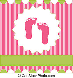 footprint of girl on the pink background