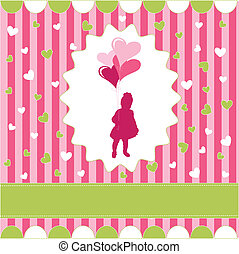 girl with balloon, pink wallpaper
