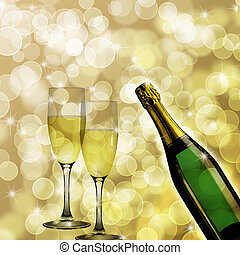 Champagne Bottle and Two Glasses Bokeh Background -...