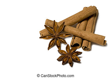 Cinnamon and Anise Isolated on White Background