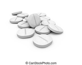 White Pills - White 3D Pills on a white Background