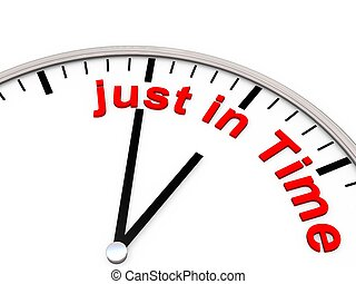 just in time - The words just in time on a clock