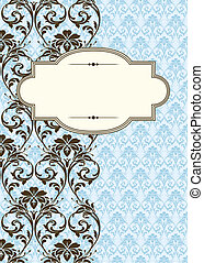 Vector Side Damask Pattern and Frame - Vector ornate frame...